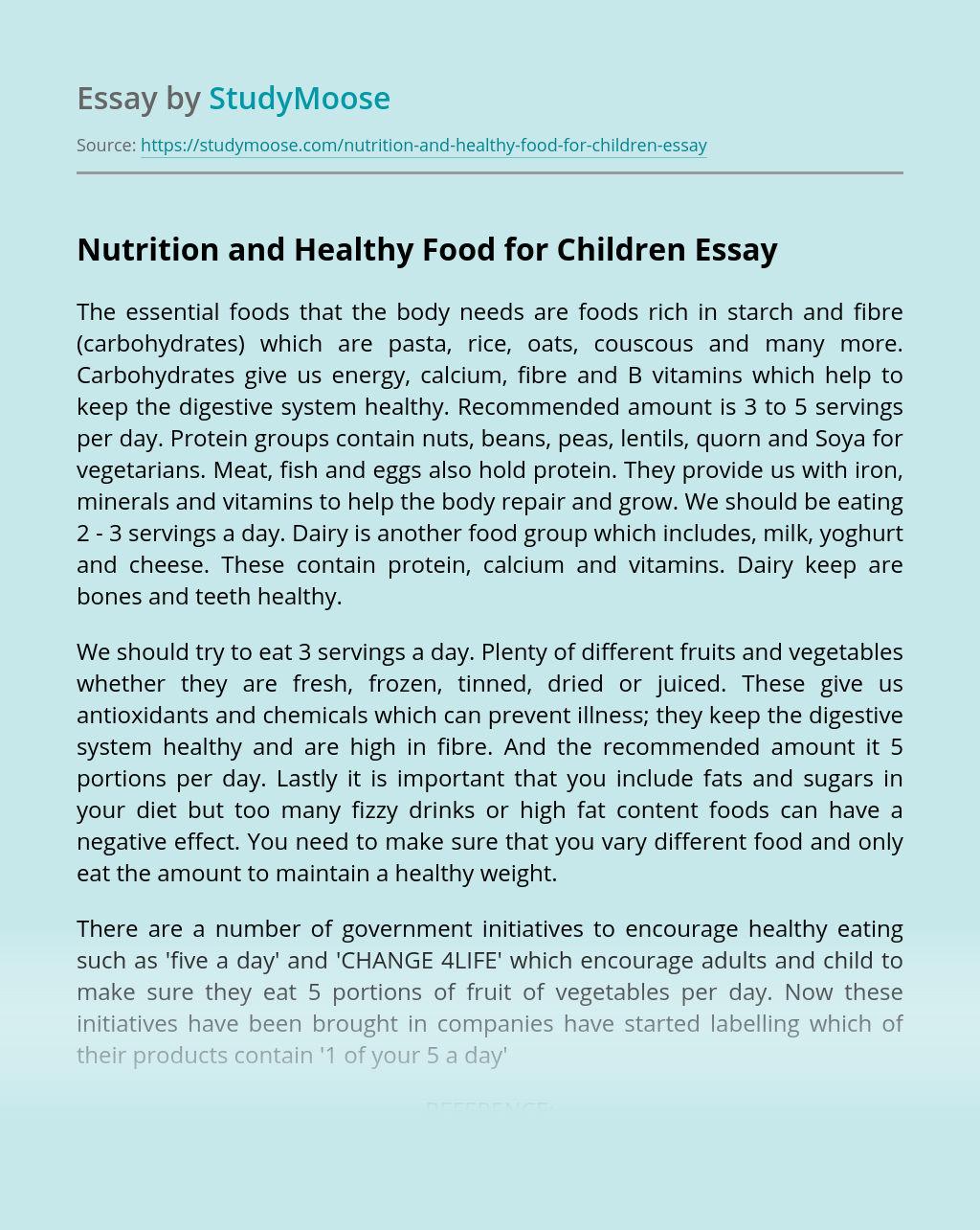 Nutrition and Healthy Food for Children