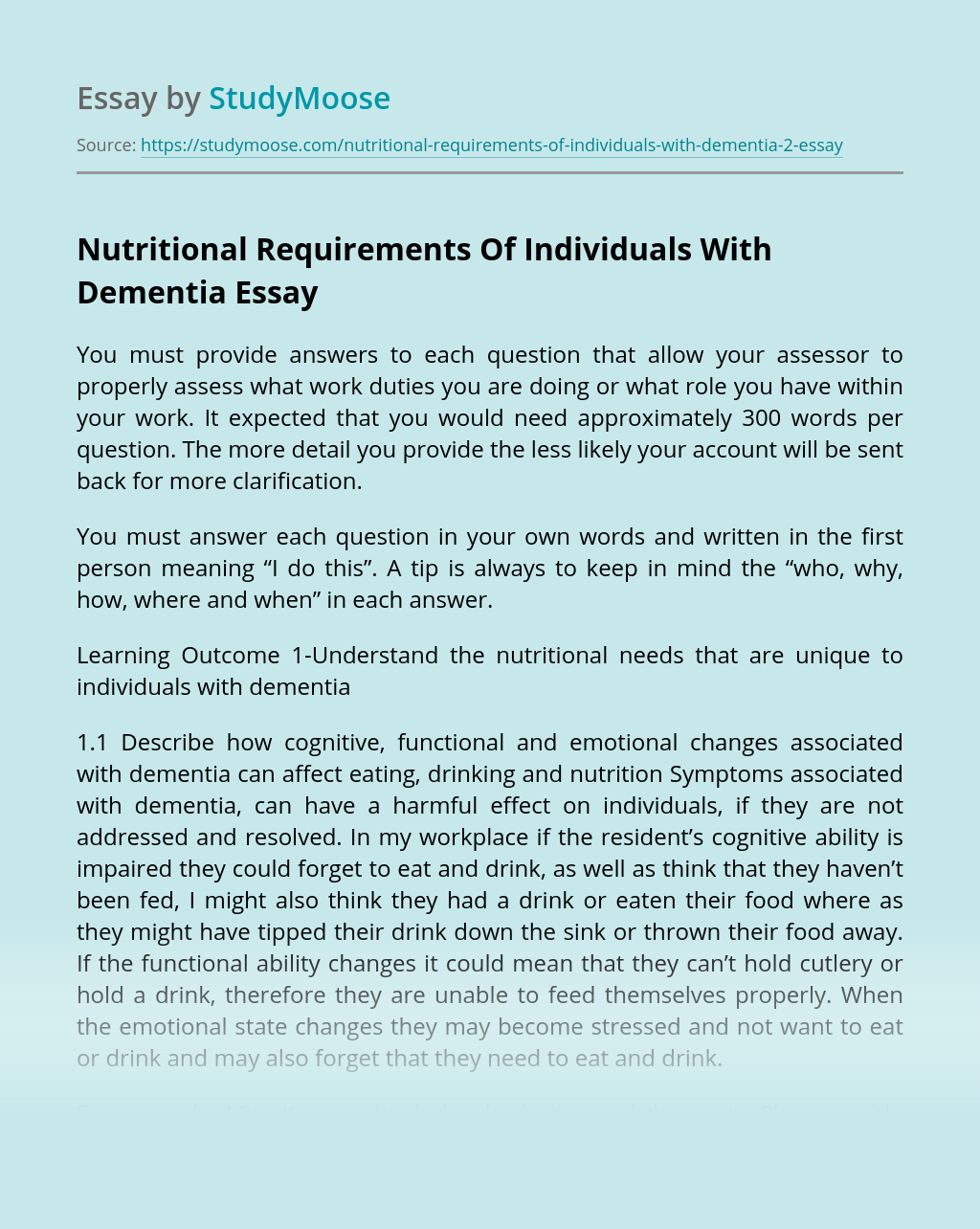 Nutritional Requirements Of Individuals With Dementia