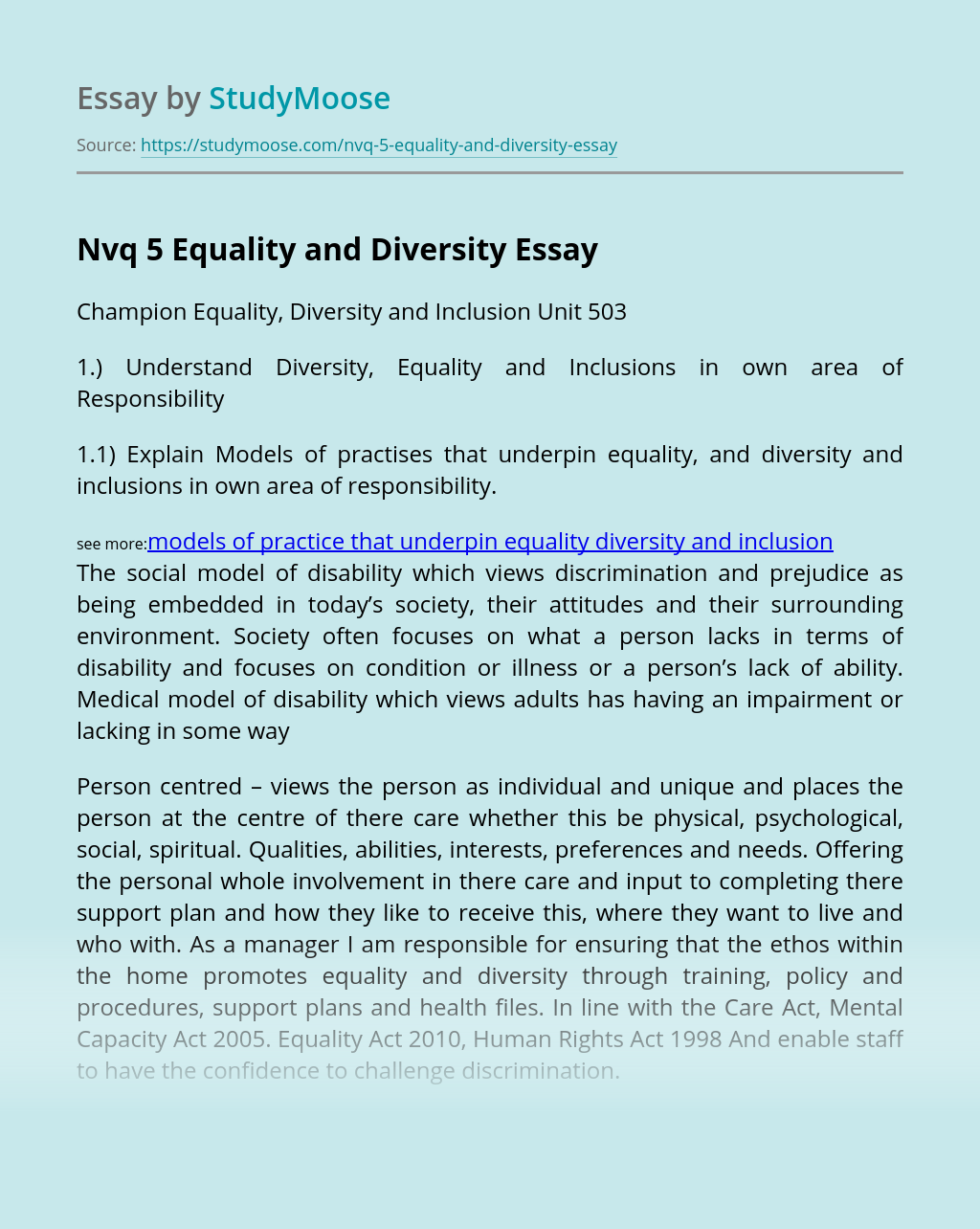 Nvq 5 Equality and Diversity