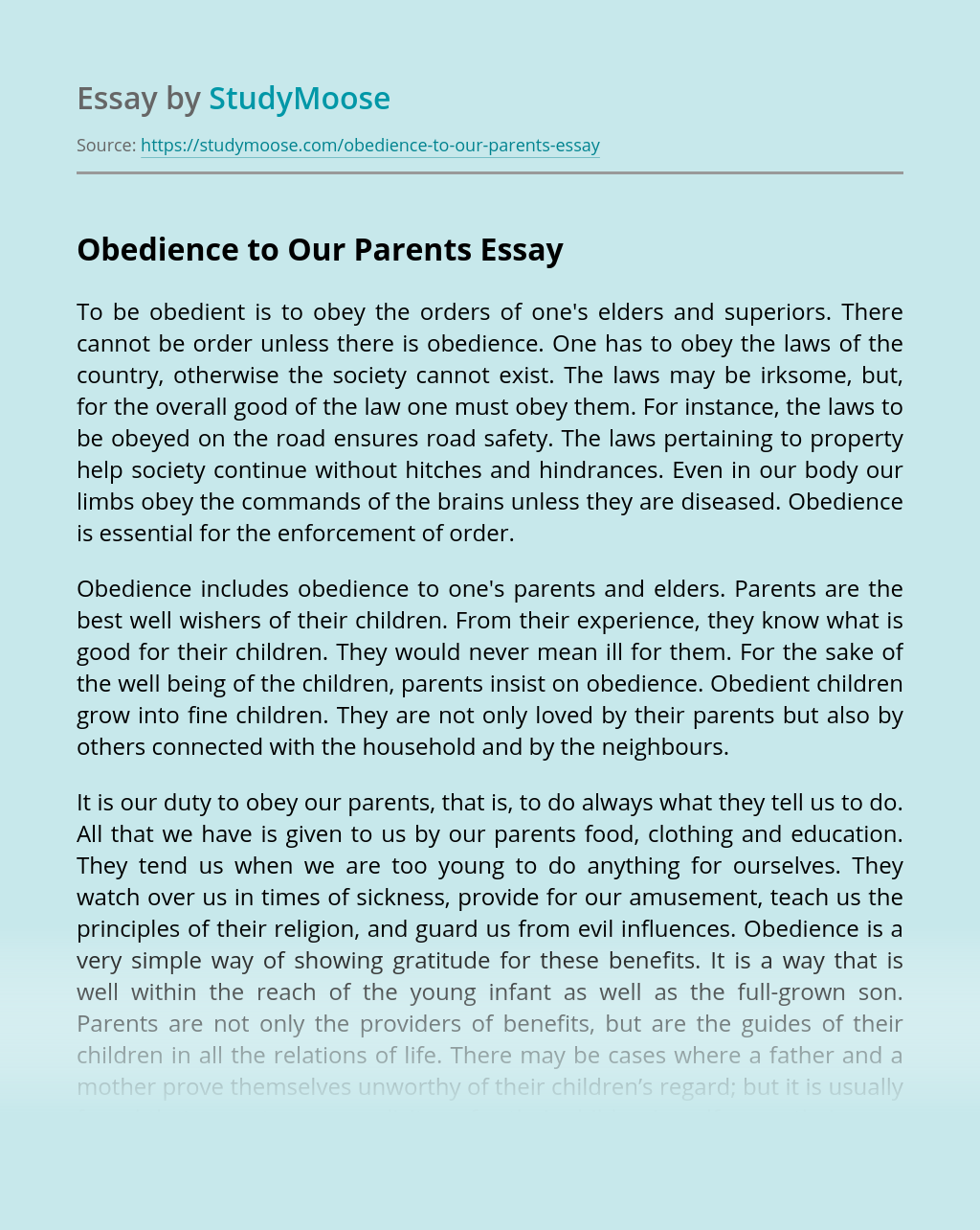 Obedience to Our Parents