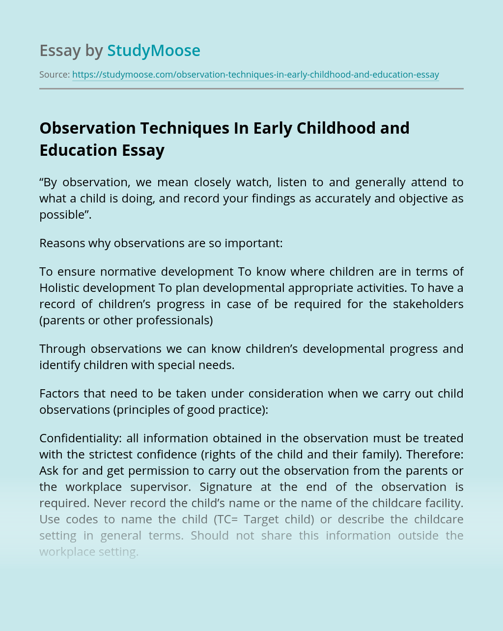Observation Techniques In Early Childhood and Education