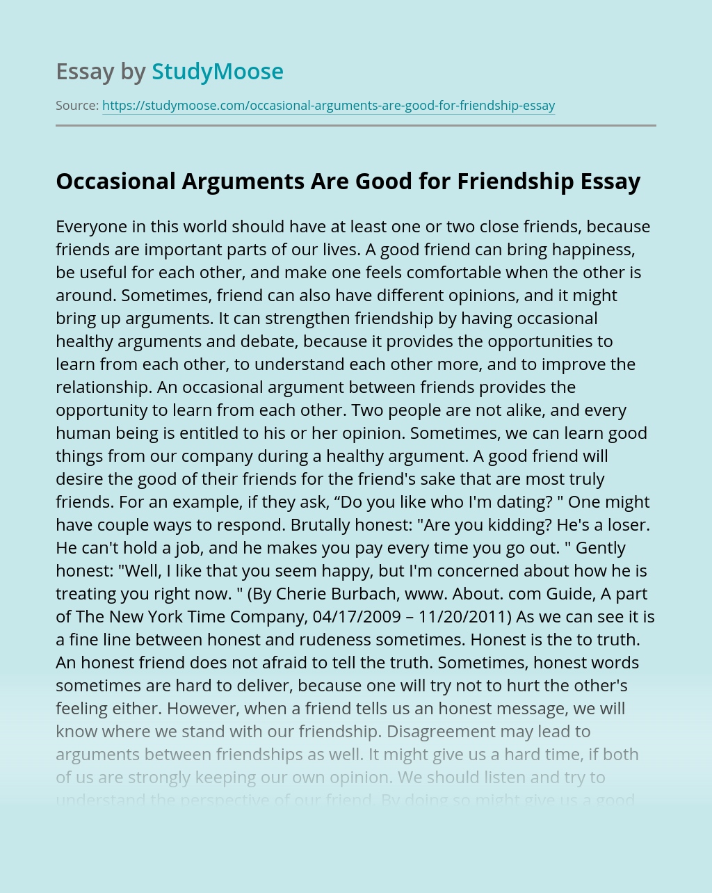 Occasional Arguments Are Good for Friendship