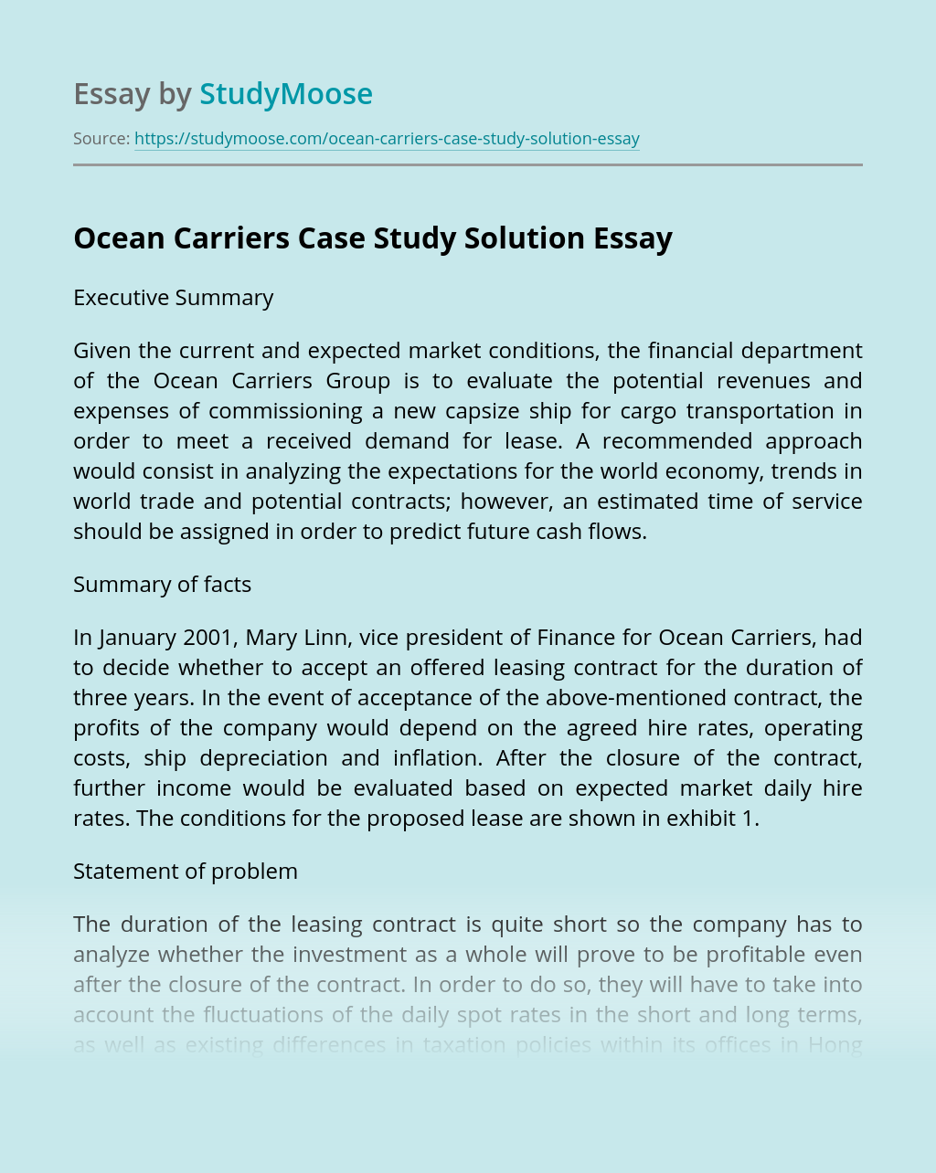 Ocean Carriers Case Study Solution