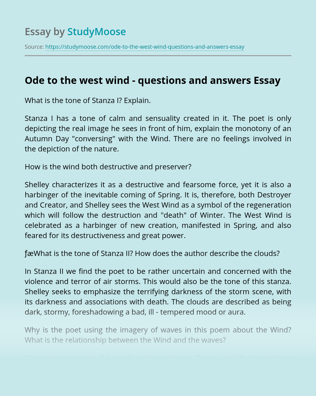Ode to the west wind - questions and answers