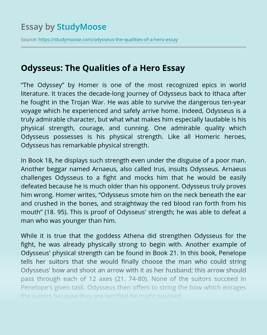 Odysseus: The Qualities of a Hero