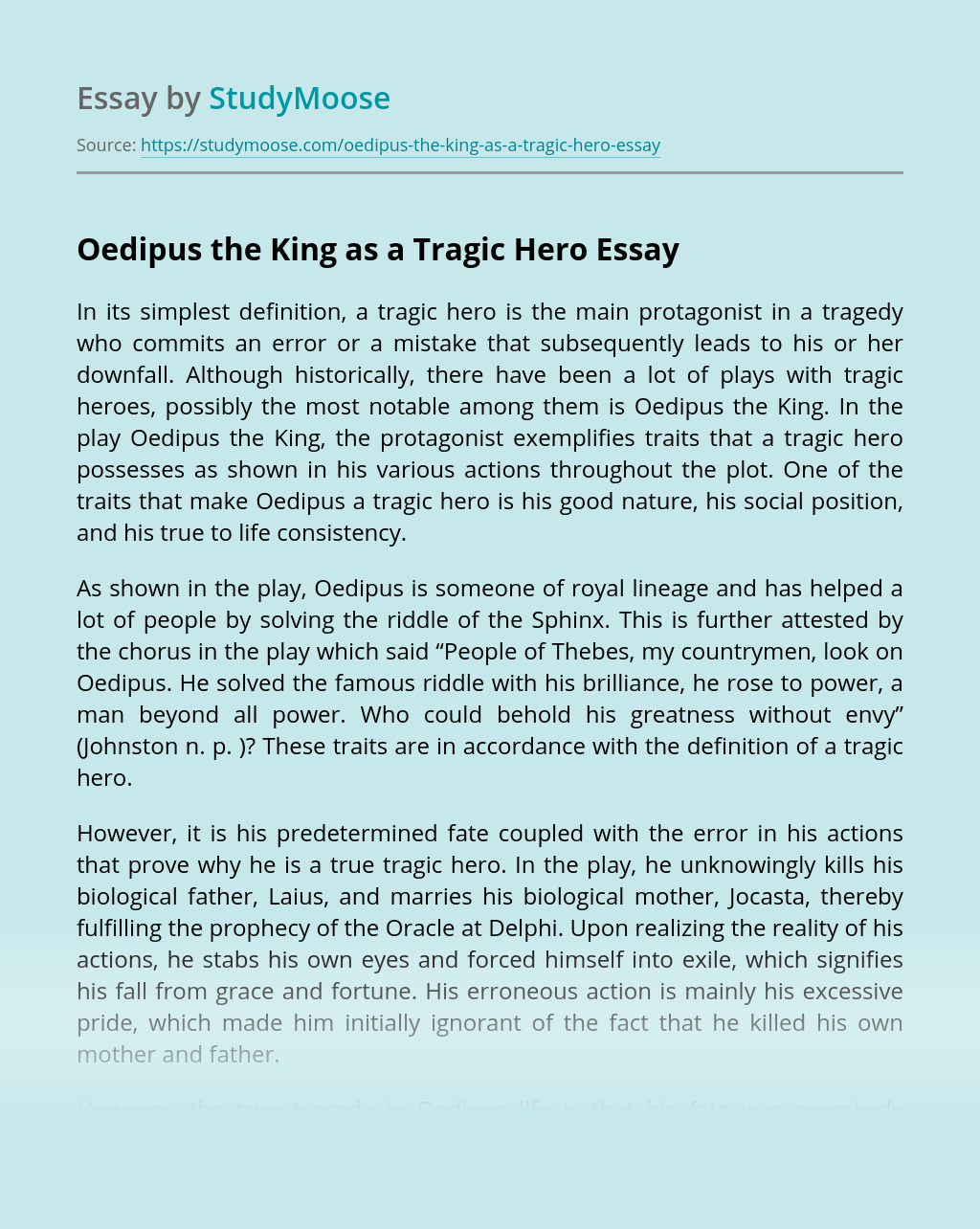 Oedipus the King as a Tragic Hero