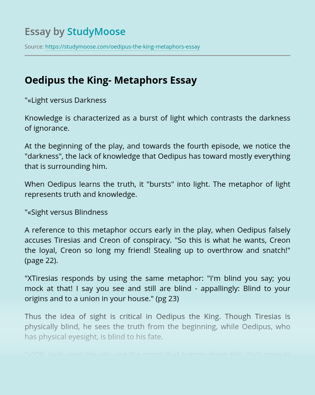 Oedipus the King- Metaphors