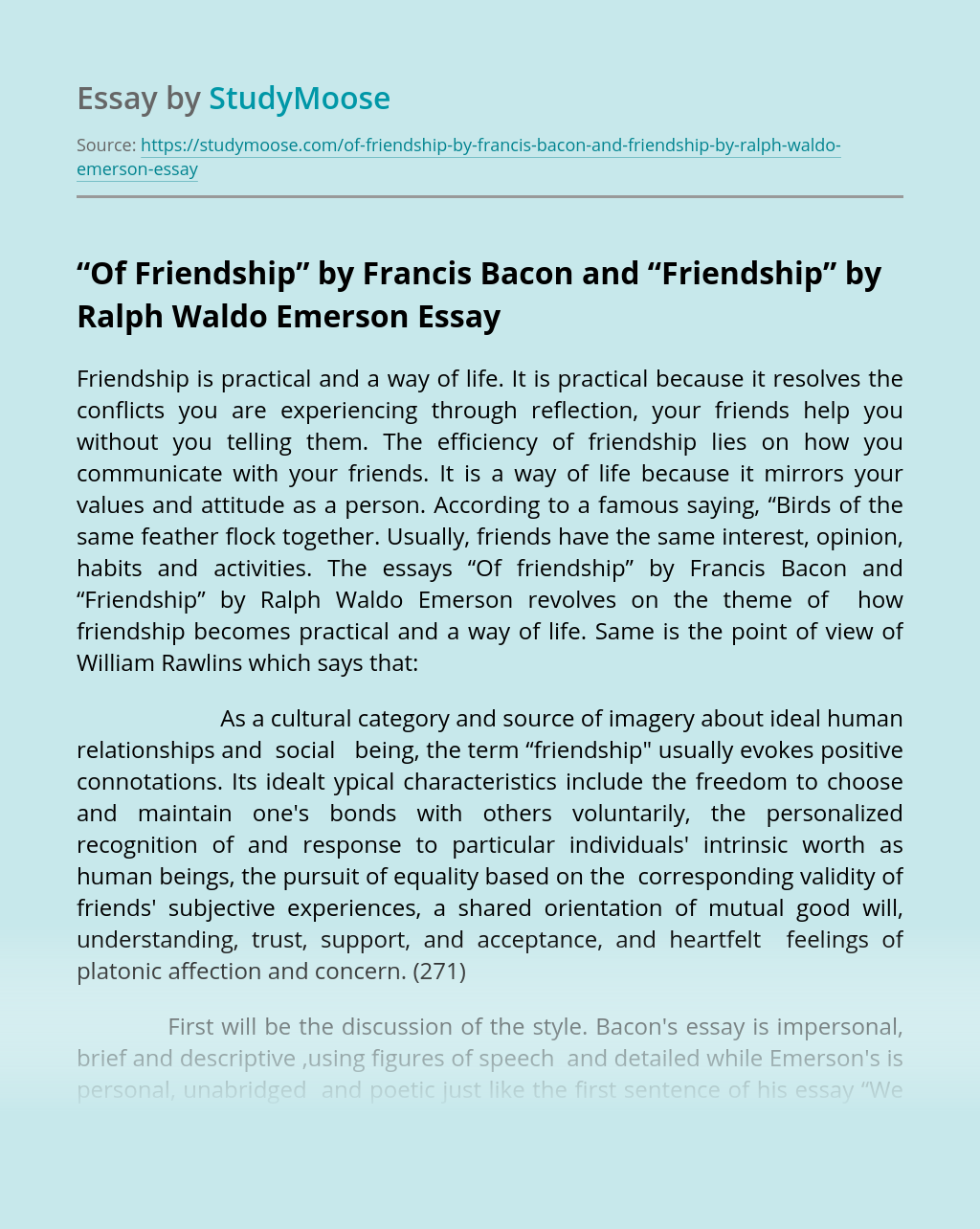 """""""Of Friendship"""" by Francis Bacon and """"Friendship"""" by Ralph Waldo Emerson"""