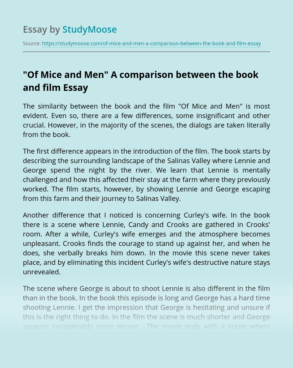 """""""Of Mice and Men"""" A comparison between the book and film"""