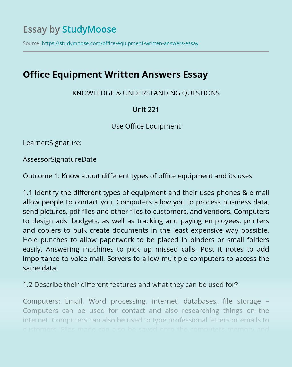 Office Equipment Written Answers