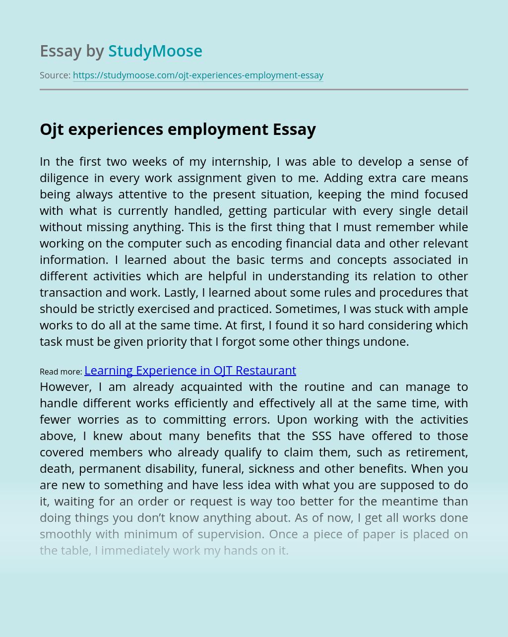 Ojt experiences employment