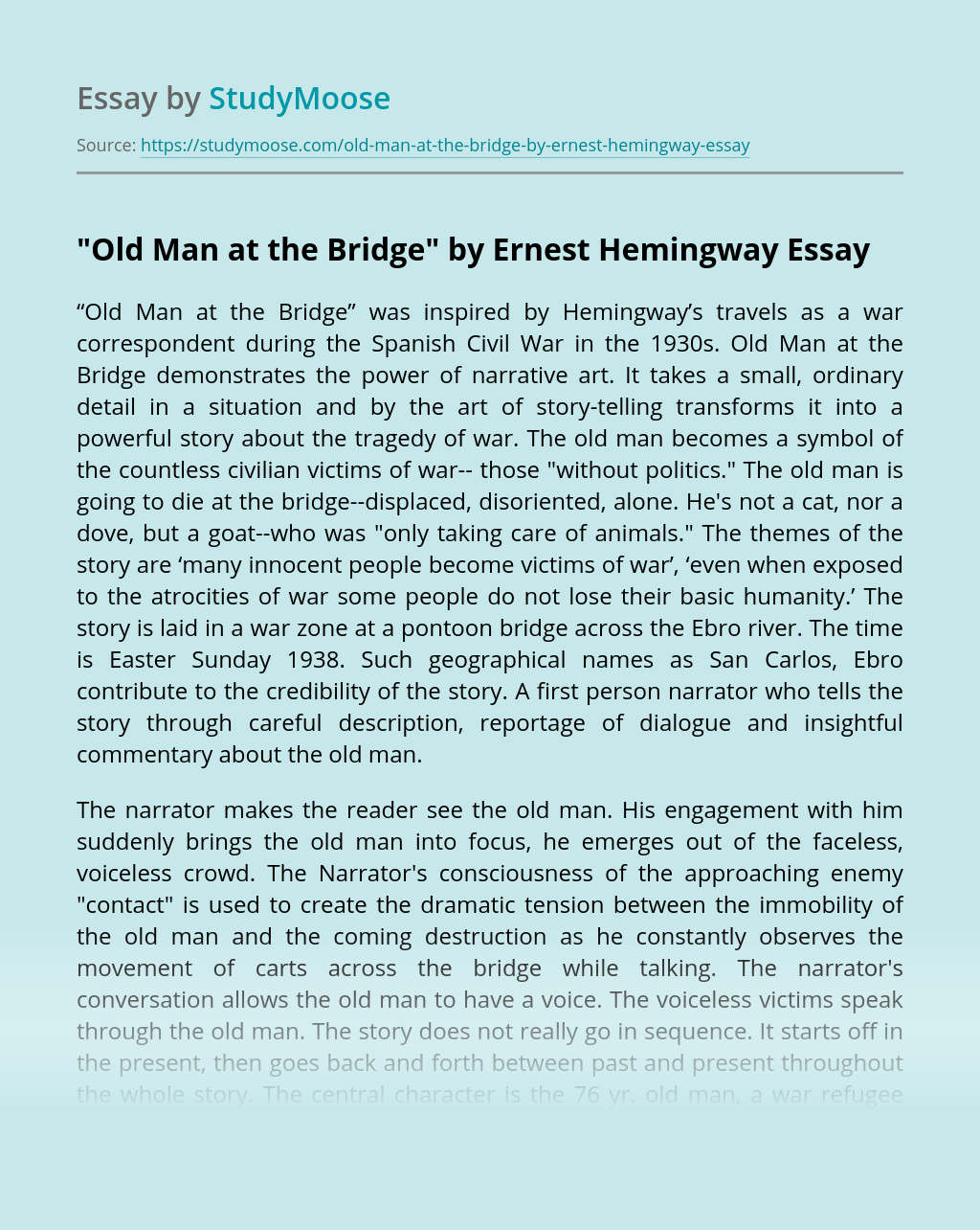 """Old Man at the Bridge"" by Ernest Hemingway"