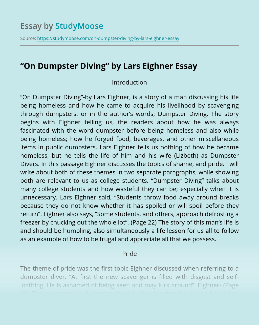 """On Dumpster Diving"" by Lars Eighner"