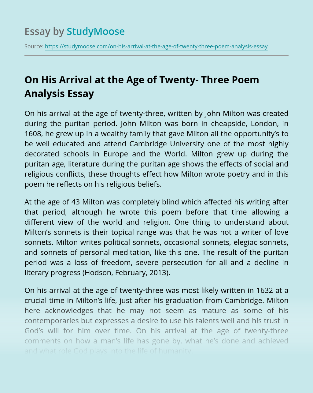 On His Arrival at the Age of Twenty- Three Poem Analysis