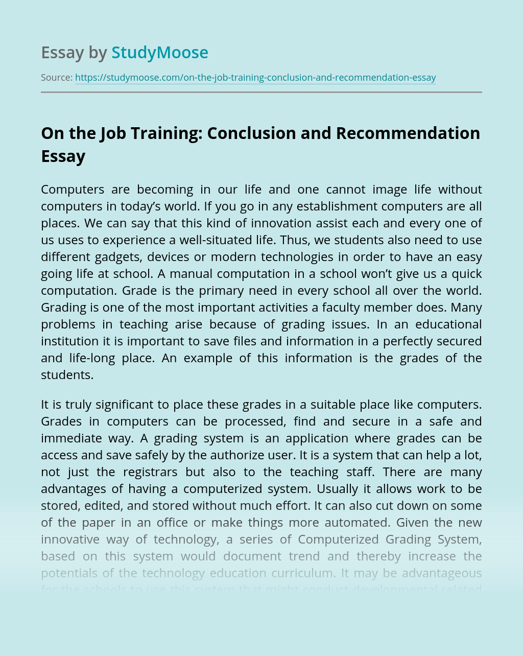 On the Job Training: Conclusion and Recommendation