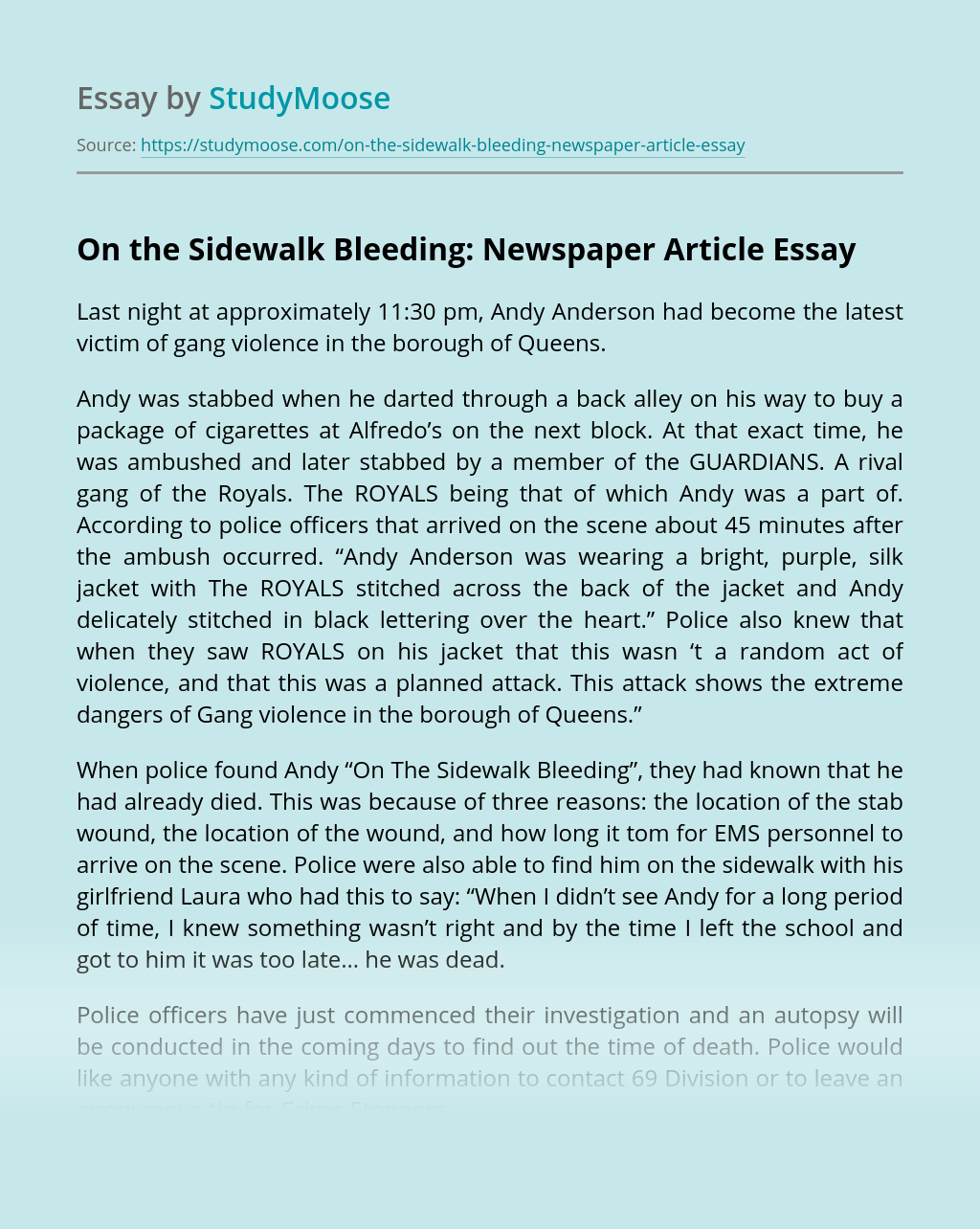 On the Sidewalk Bleeding: Newspaper Article