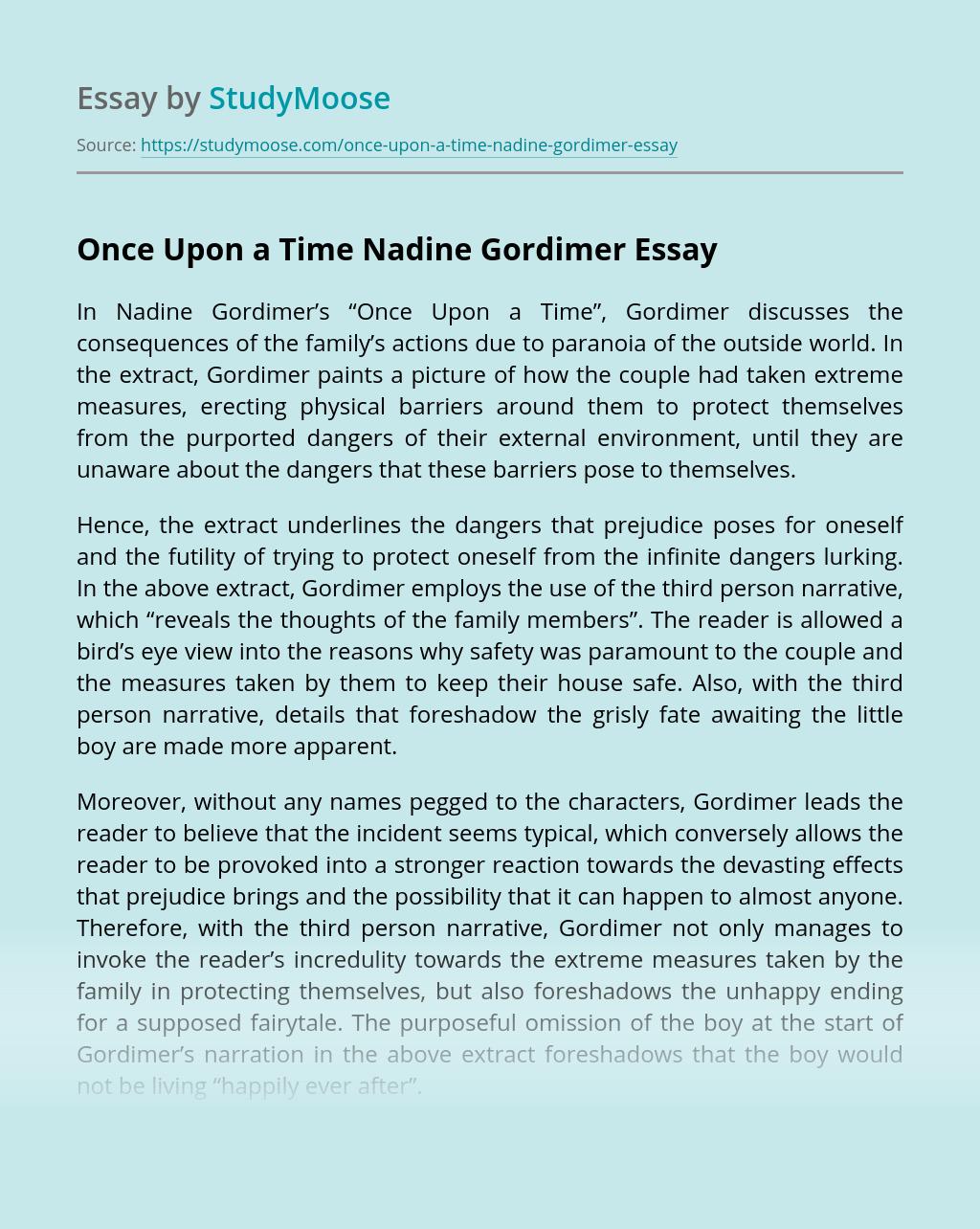 Once Upon a Time Nadine Gordimer