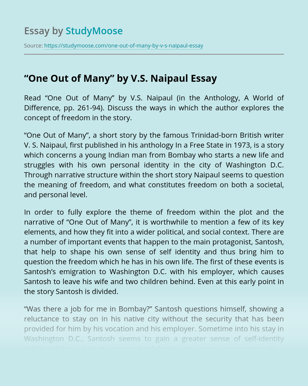 """""""One Out of Many"""" by V.S. Naipaul"""