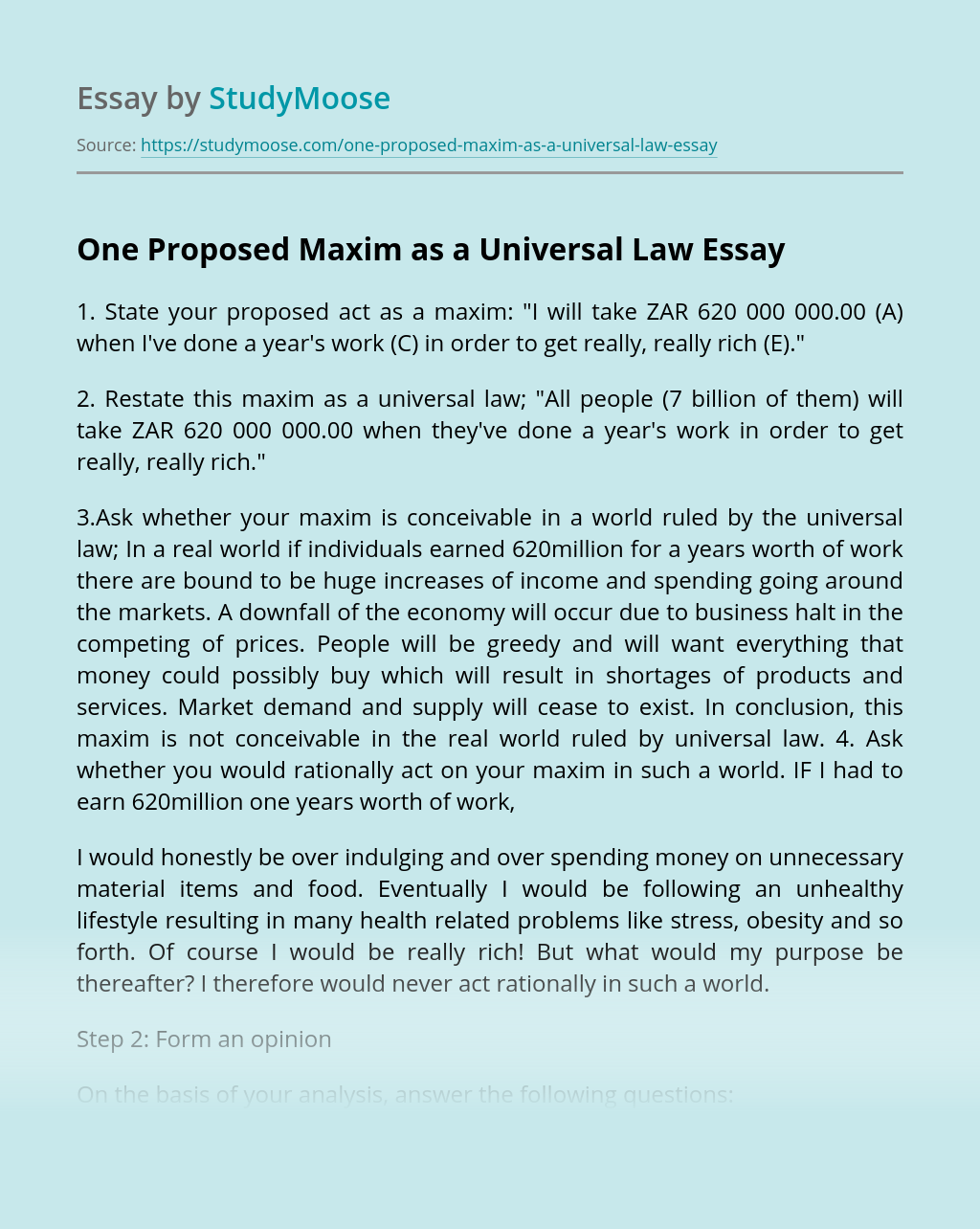 One Proposed Maxim as a Universal Law