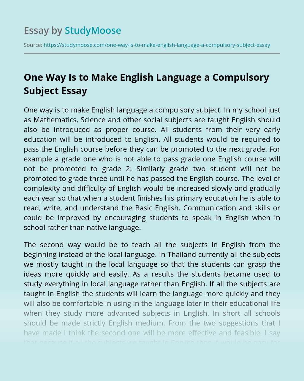 One Way Is to Make English Language a Compulsory Subject