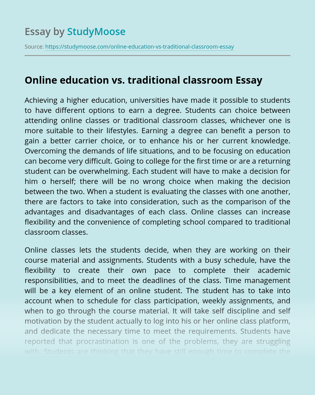 Online education vs. traditional classroom