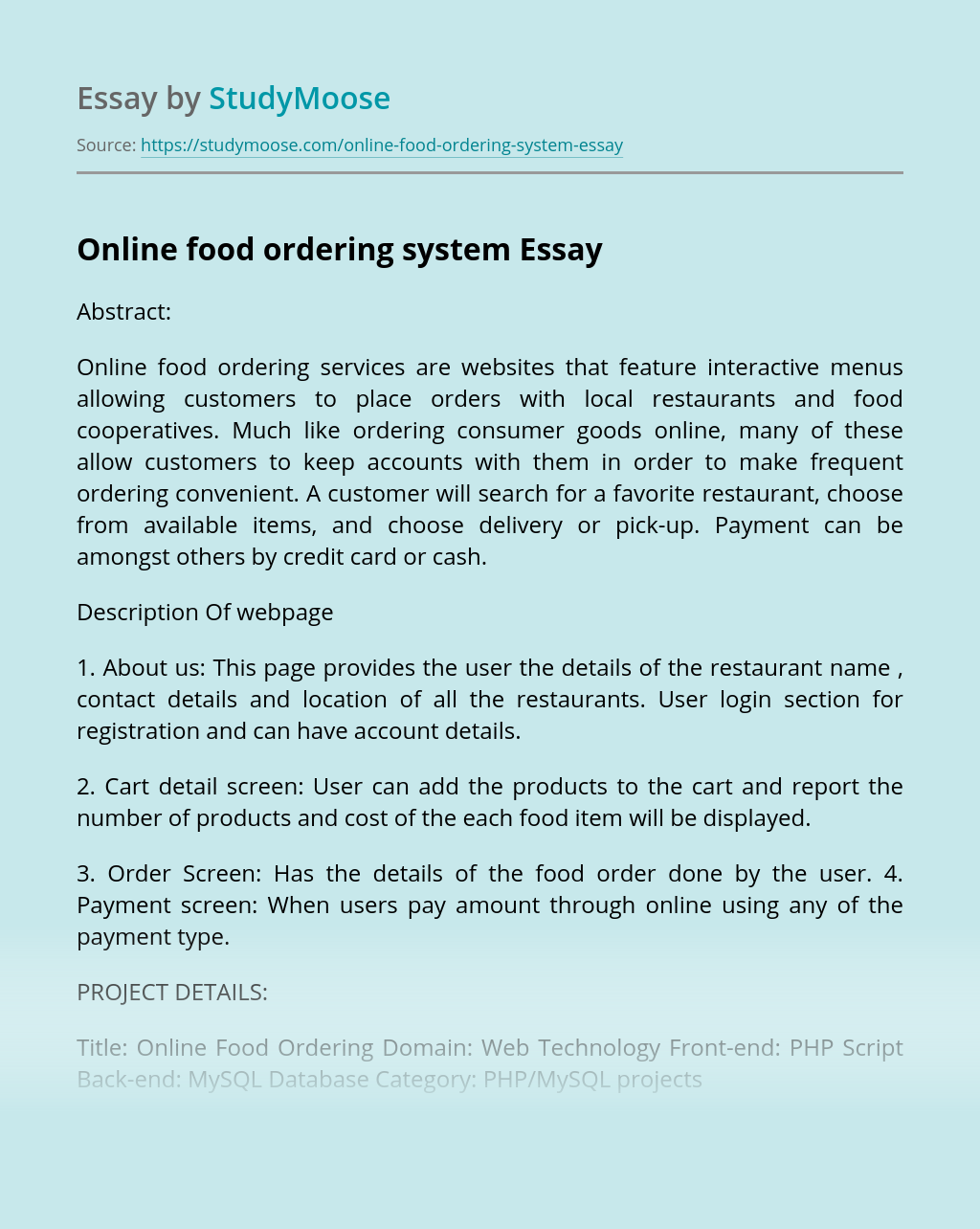 Online ordering system thesis introduction