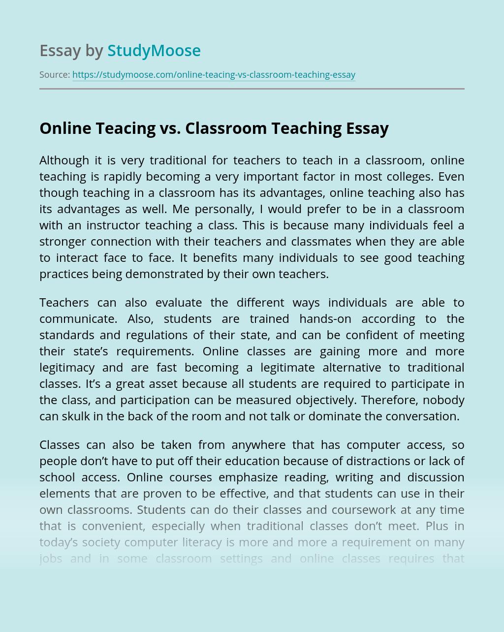 Online Teacing vs. Classroom Teaching