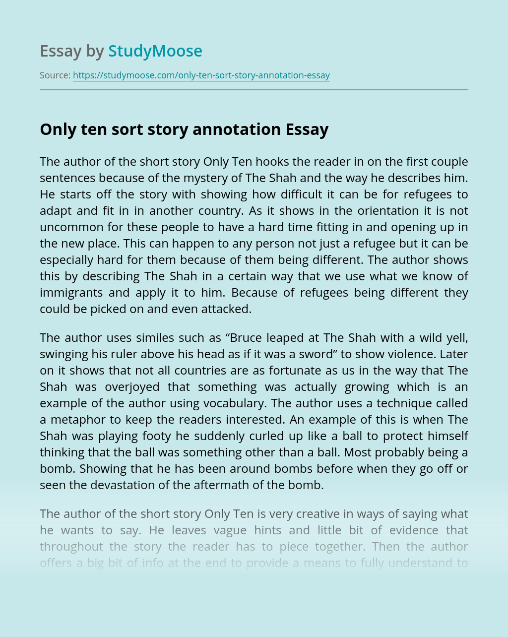 Only ten sort story annotation