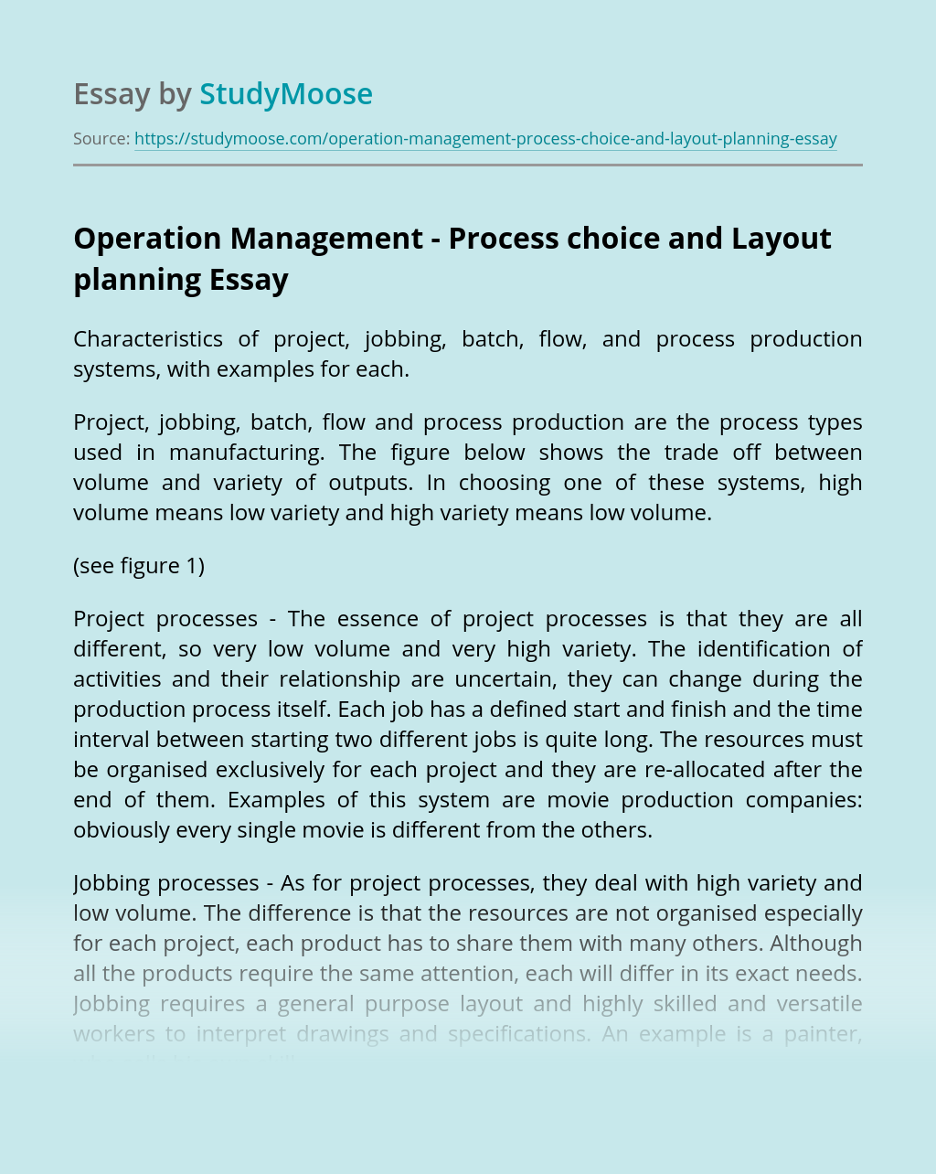 Operation Management - Process choice and Layout planning