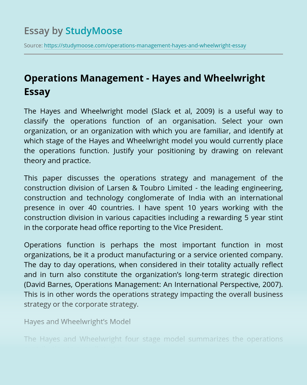 Operations Management – Hayes and Wheelwright