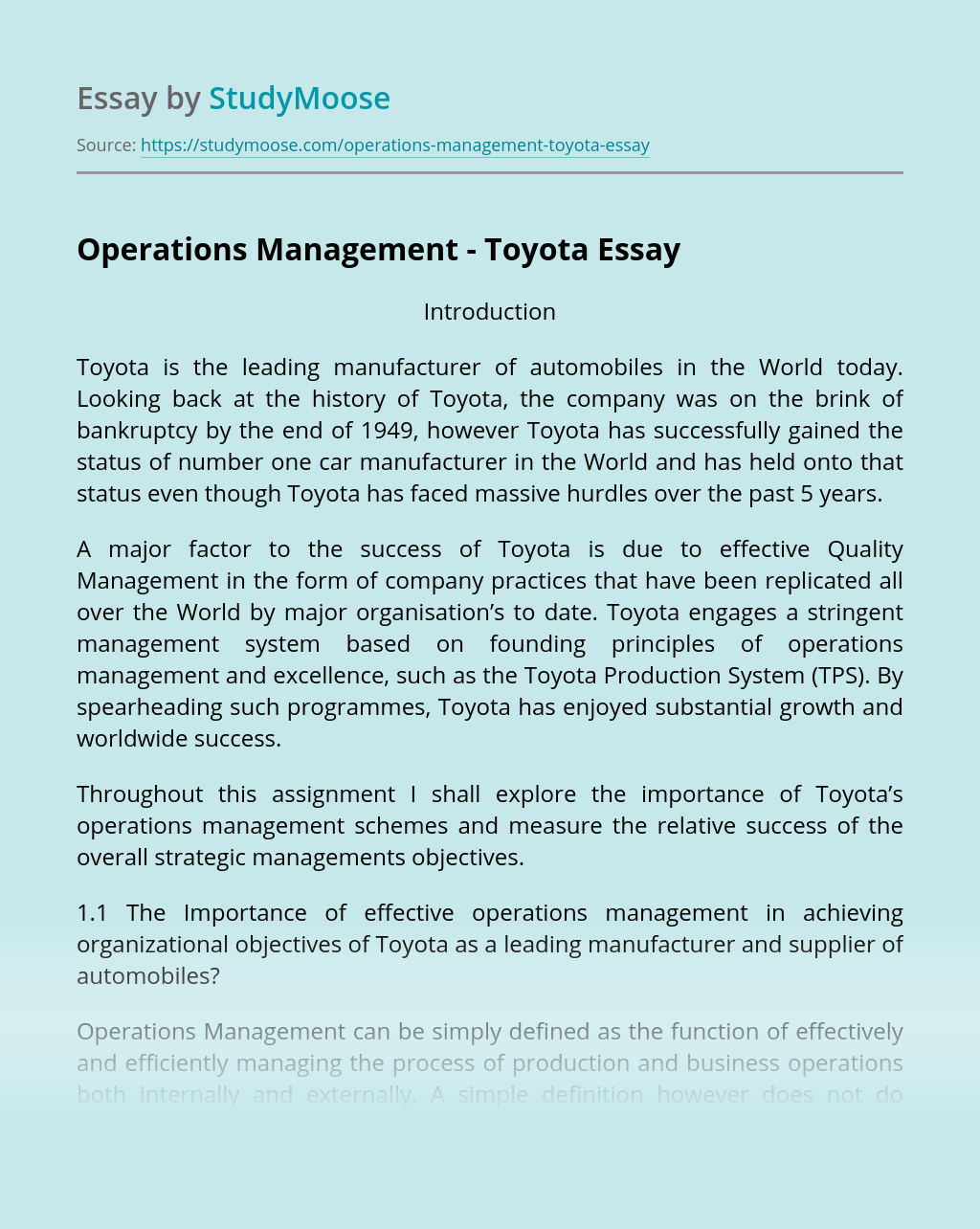 Operations Management - Toyota