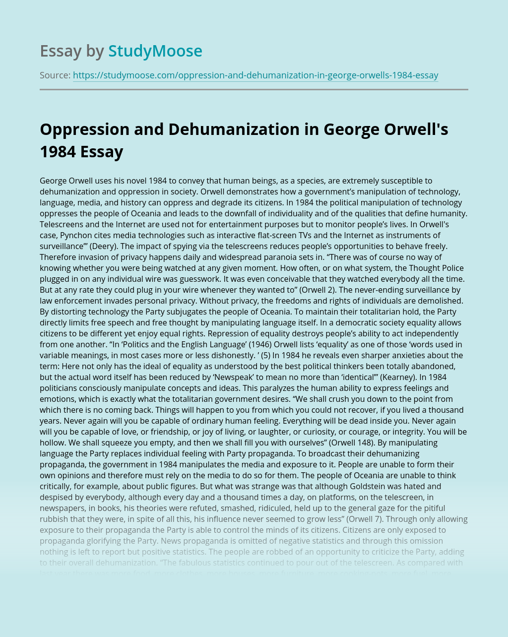 Oppression and Dehumanization in George Orwell's 1984