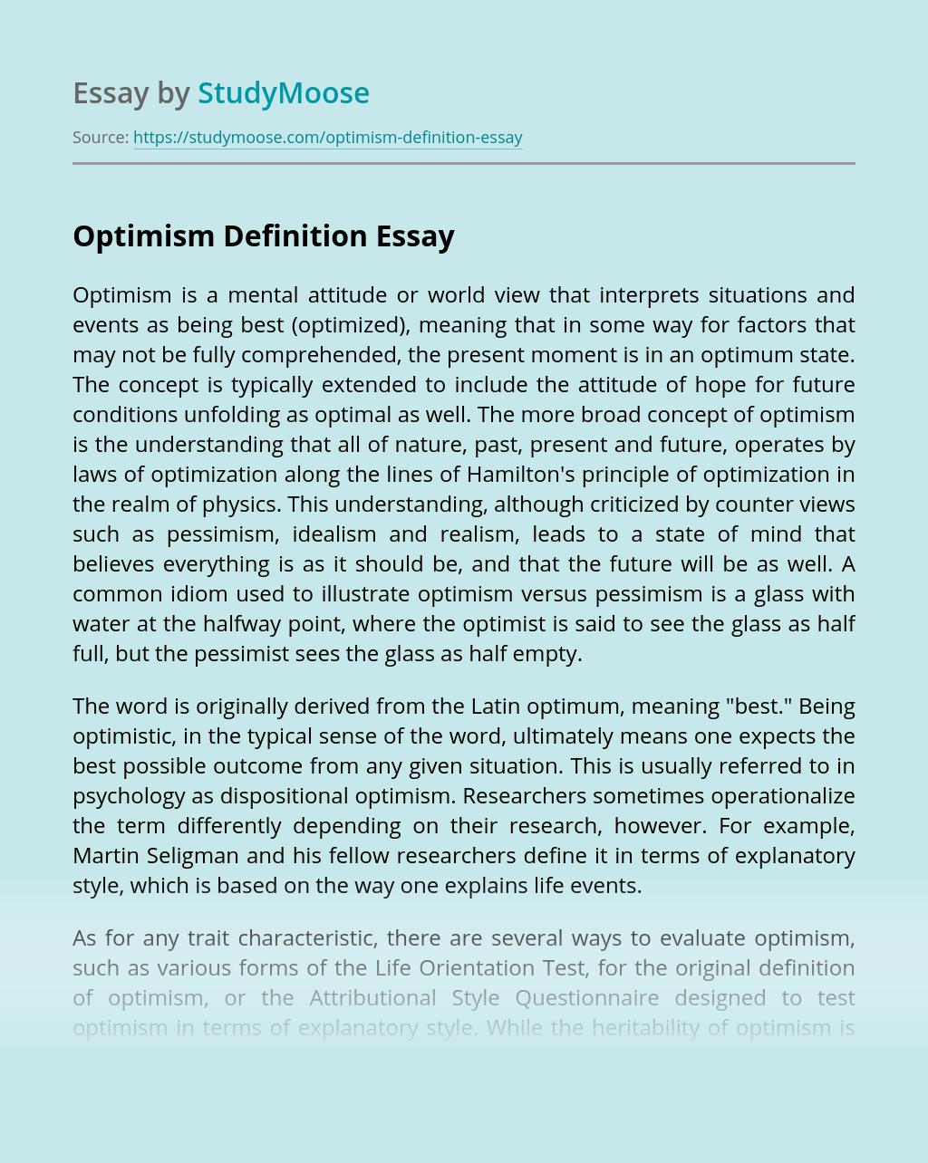 Optimism Definition