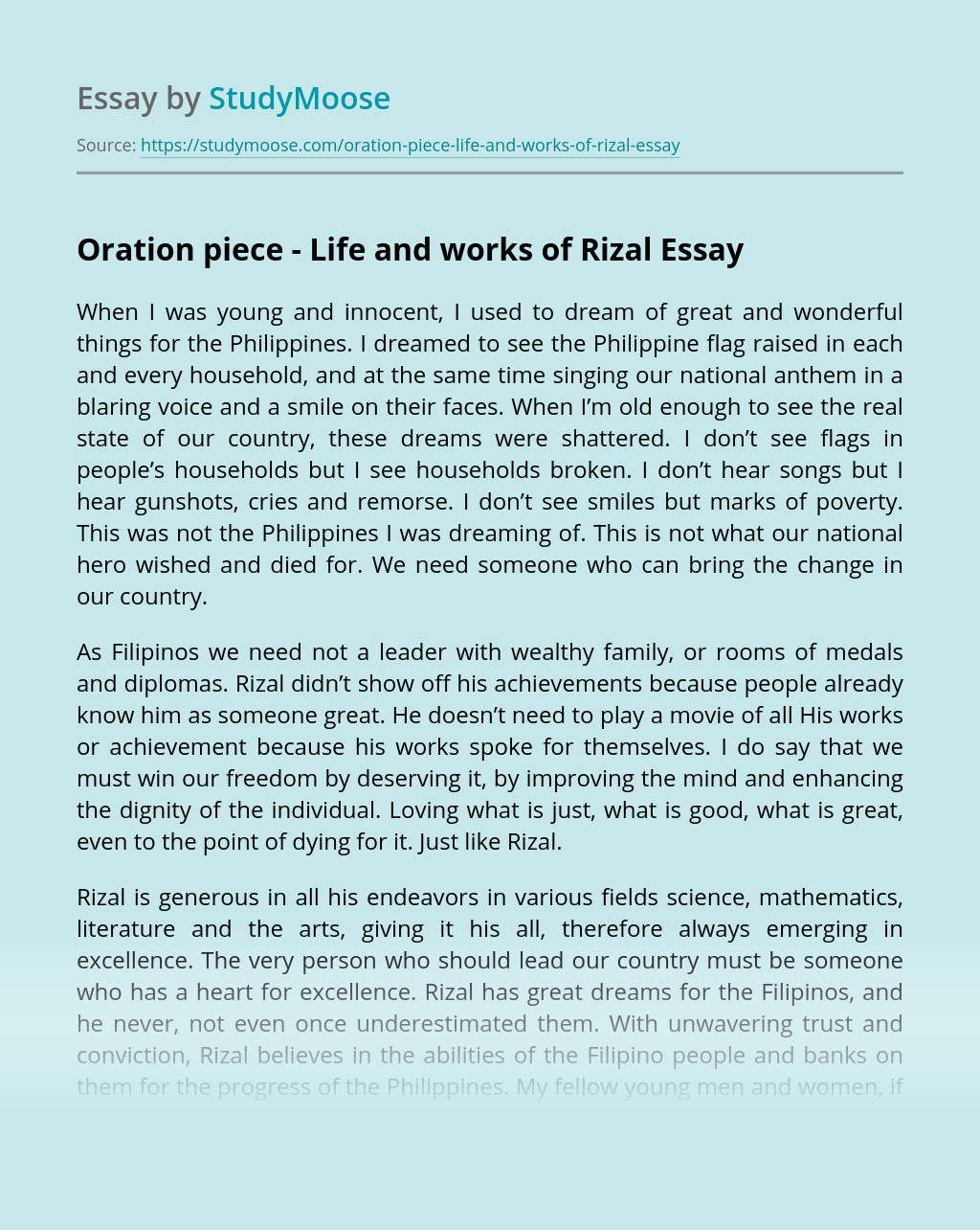 Oration piece - Life and works of Rizal