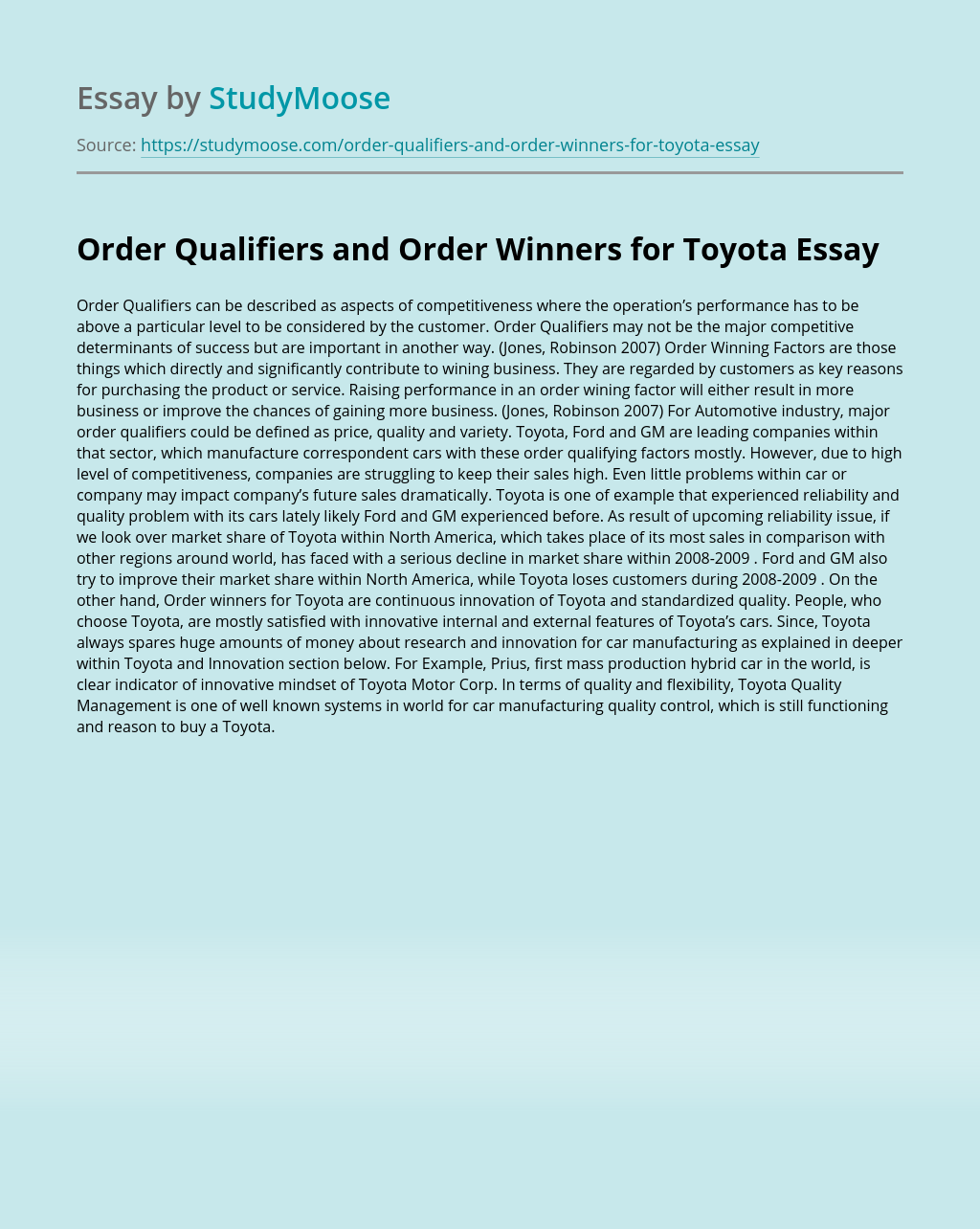 Order Qualifiers and Order Winners for Toyota
