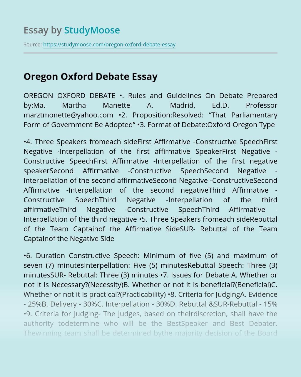 Oregon Oxford Debate