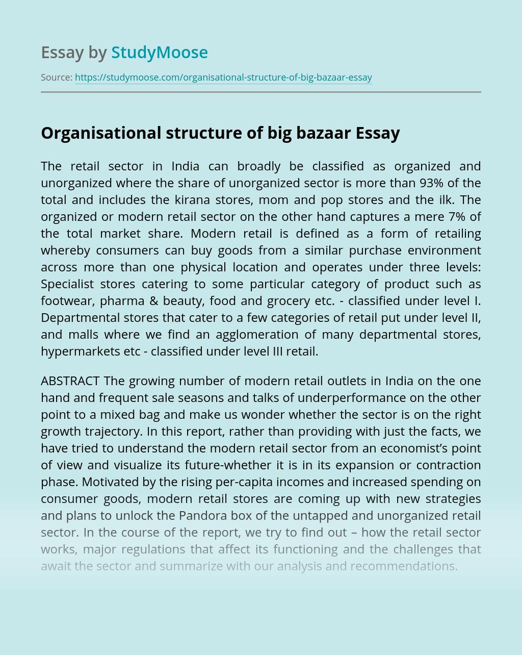 Organisational structure of big bazaar