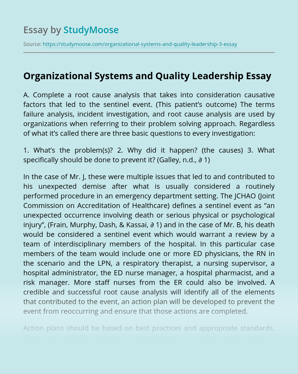 Organizational Systems and Quality Leadership