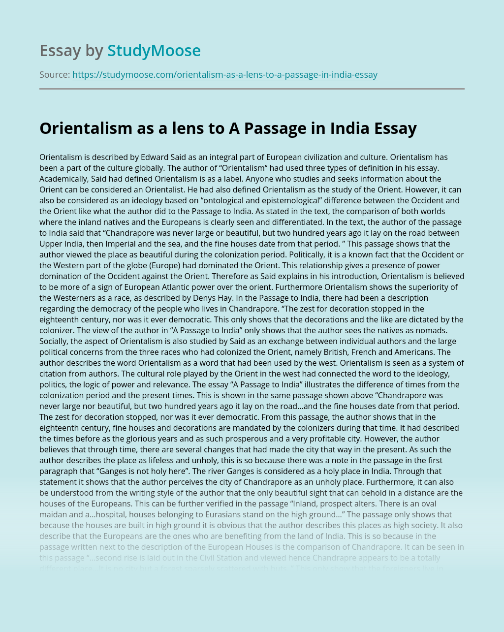 Orientalism as a lens to A Passage in India