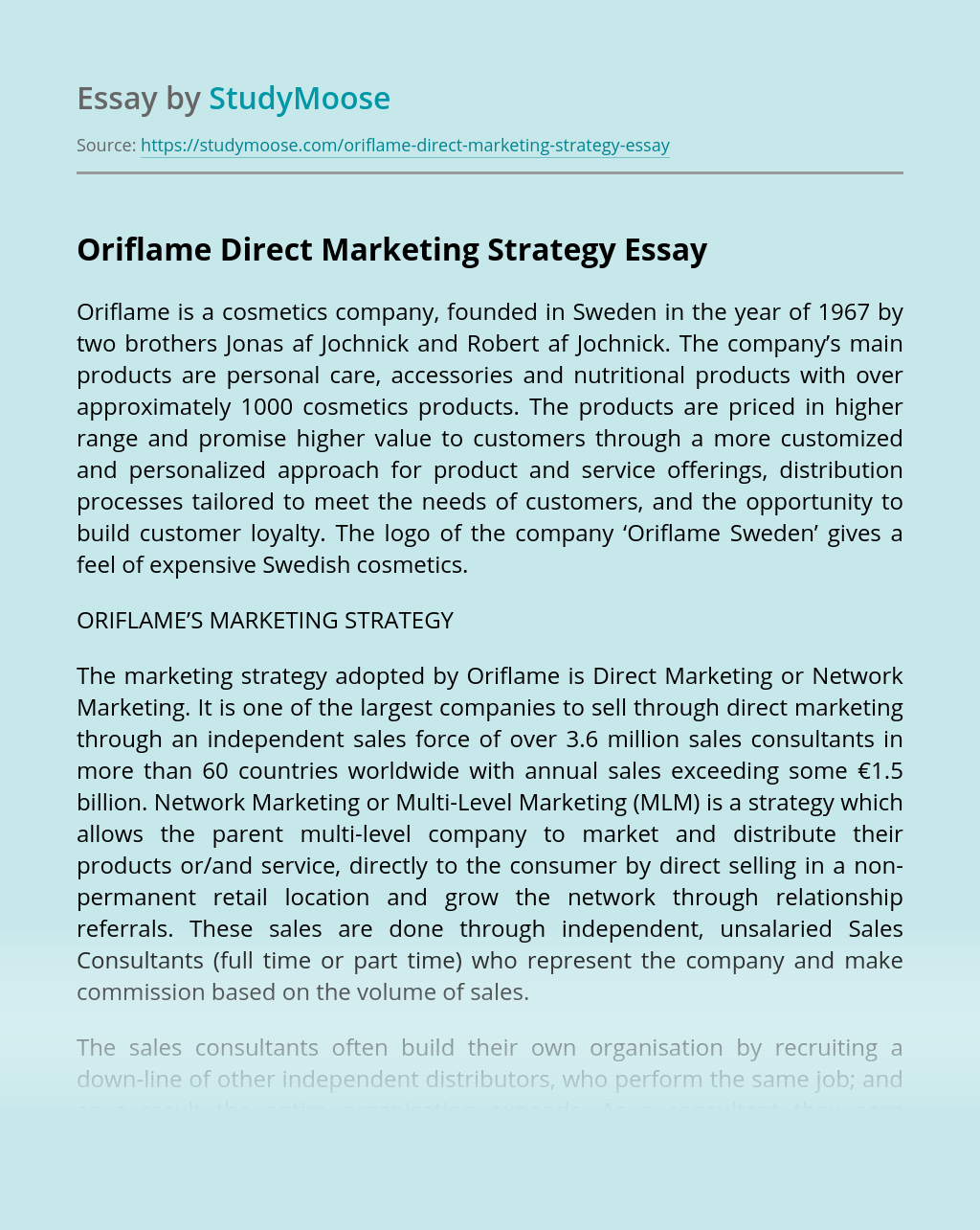 Oriflame Direct Marketing Strategy