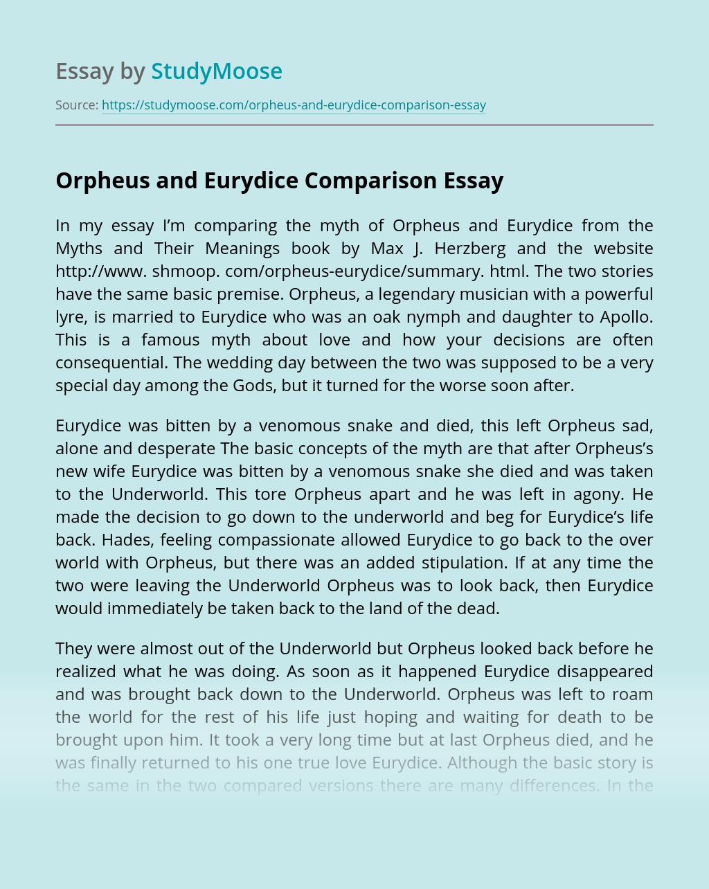 Orpheus and Eurydice Comparison