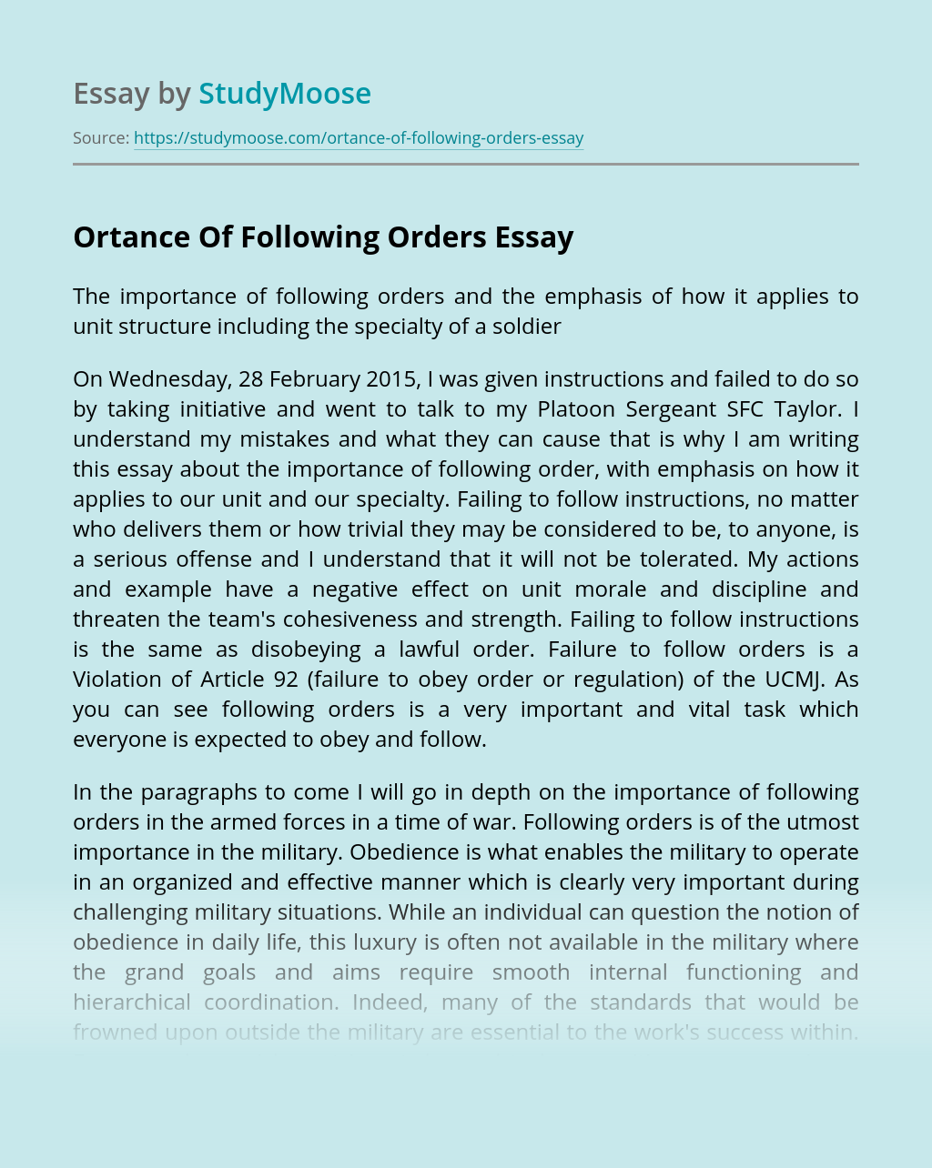 Ortance Of Following Orders