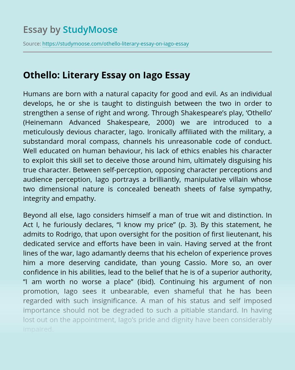 Othello: Literary Essay on Iago