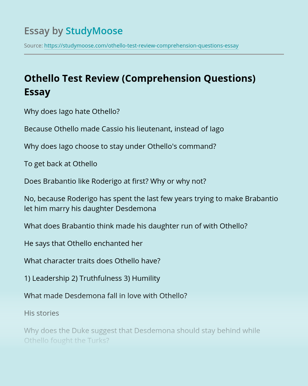 Othello Test Review (Comprehension Questions)