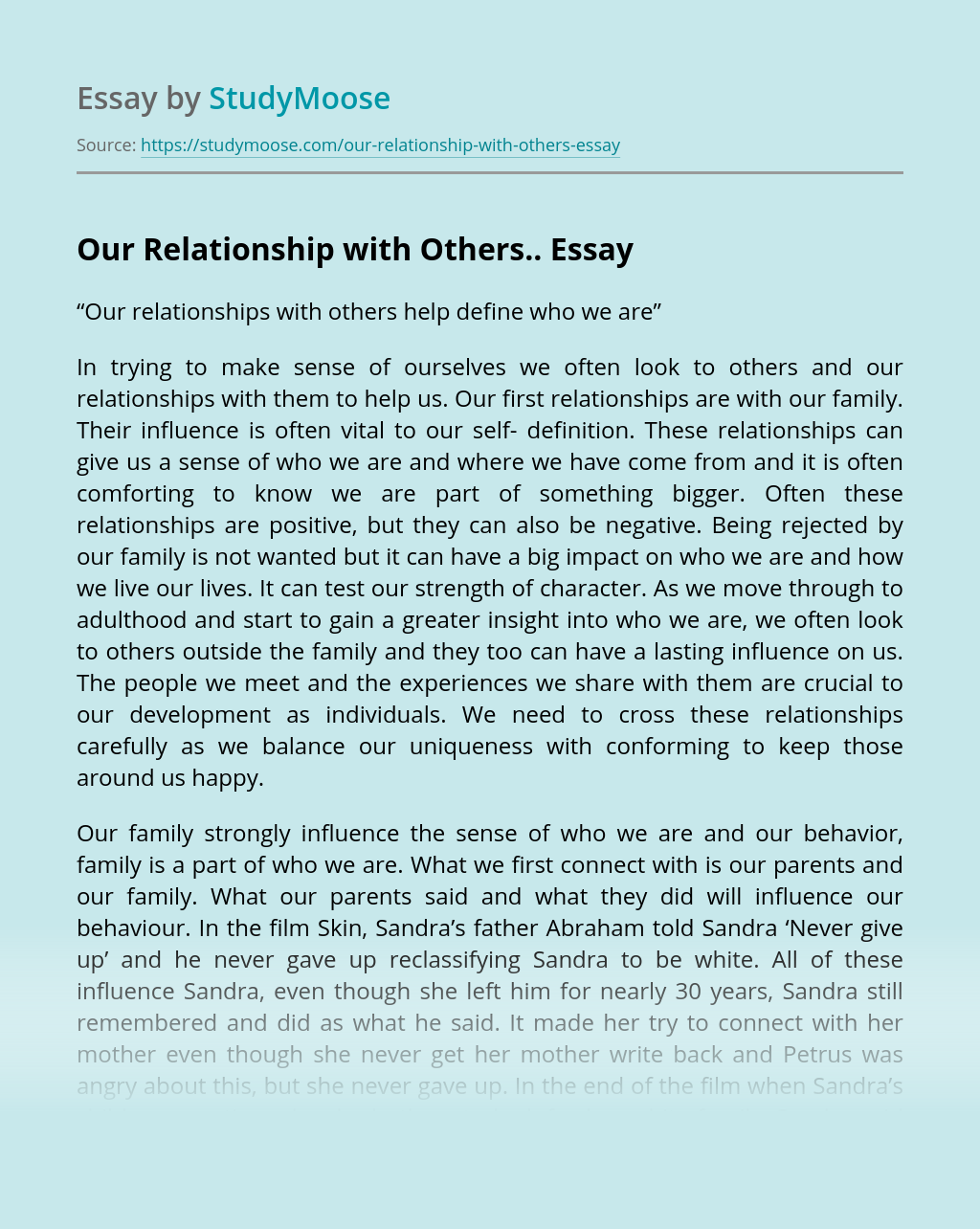 Our Relationship with Others..