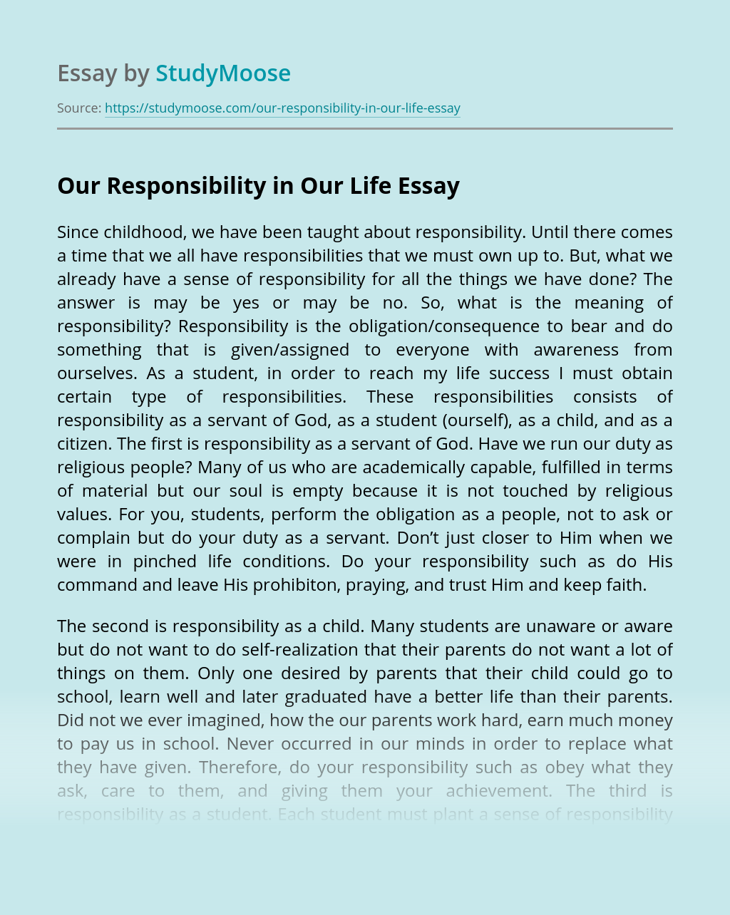 Our Responsibility in Our Life