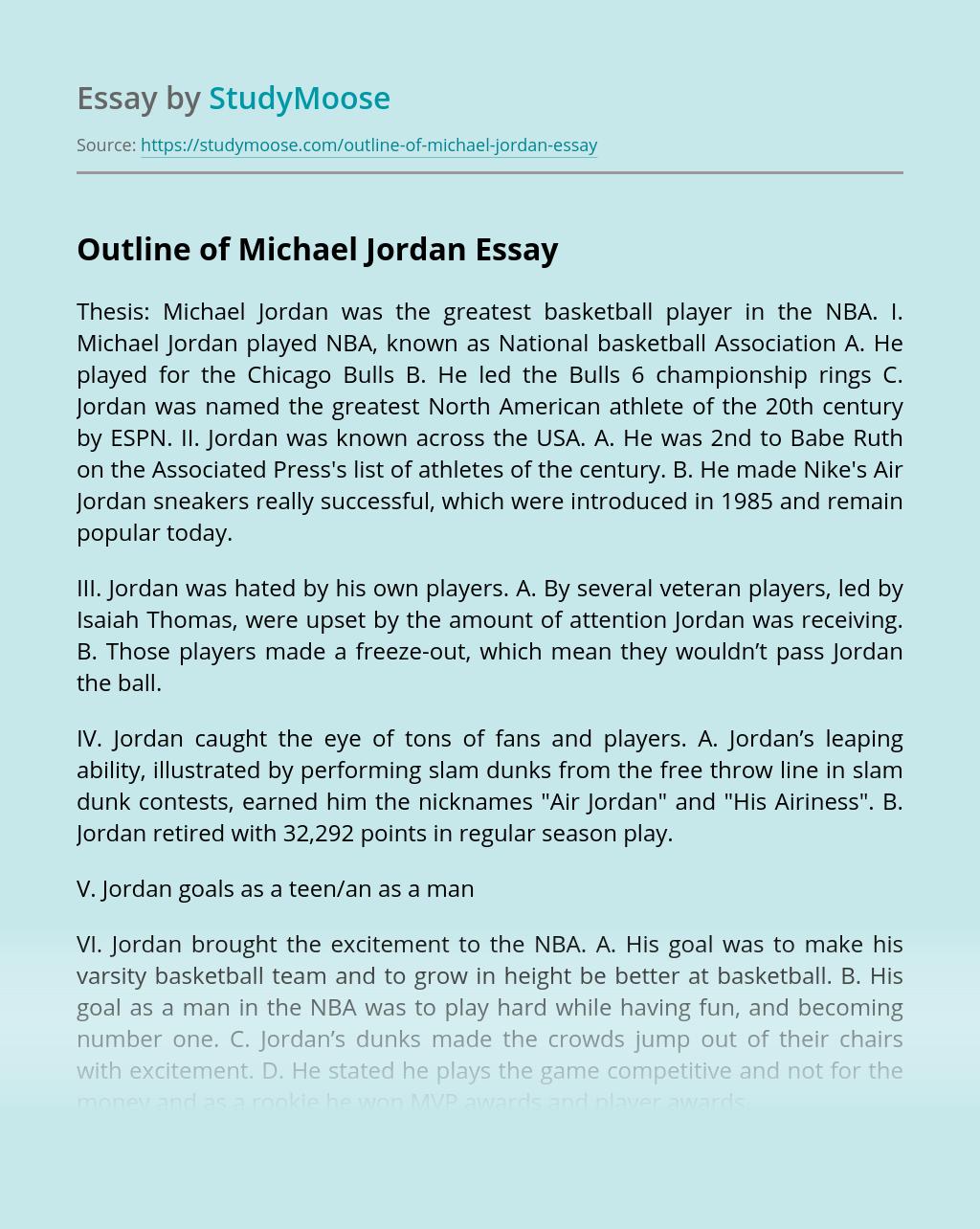 Outline of Michael Jordan