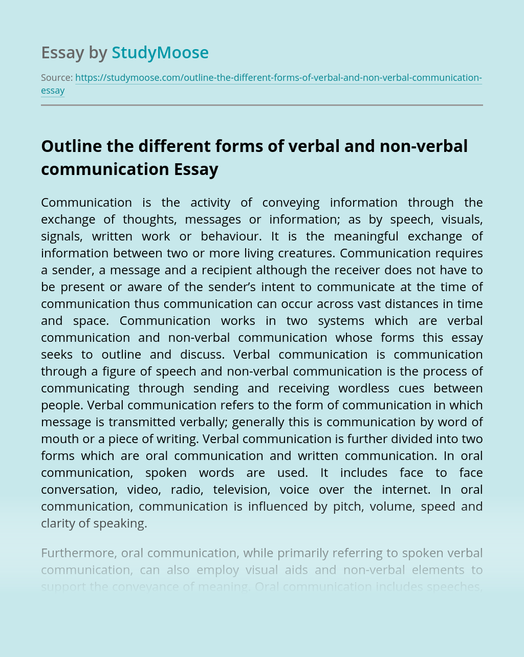 Outline the different forms of verbal and non-verbal communication