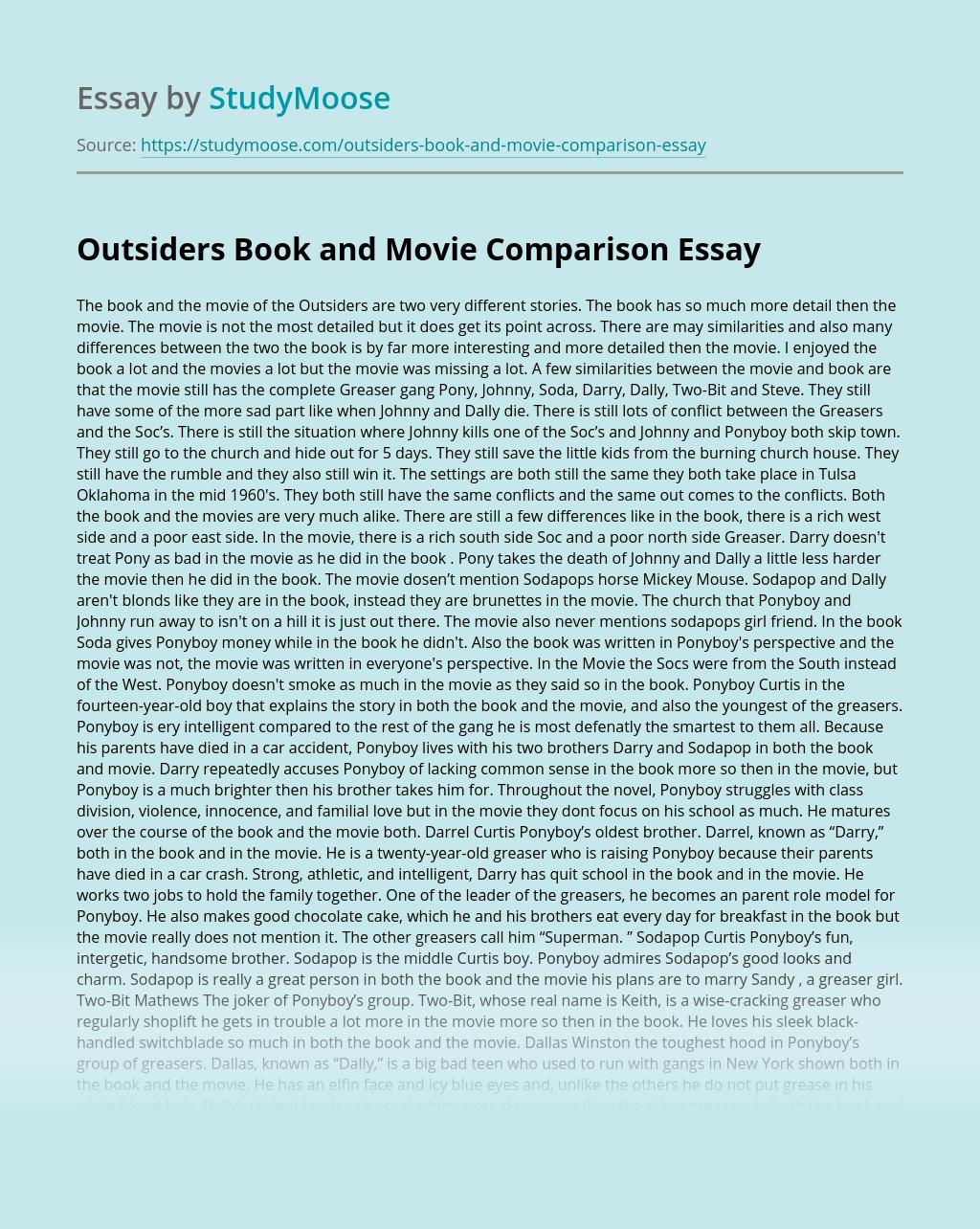 Outsiders Book and Movie Comparison