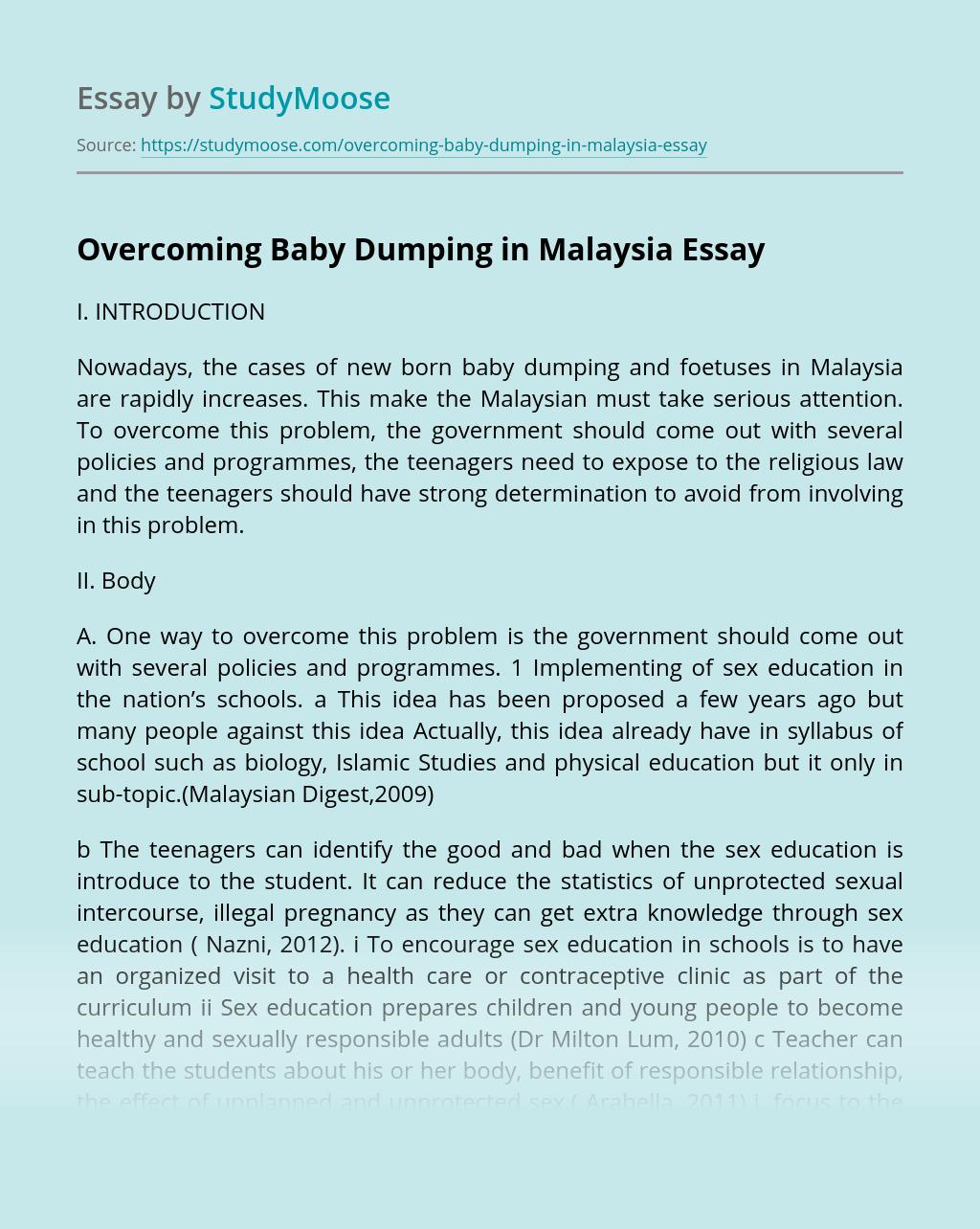 Overcoming Baby Dumping in Malaysia